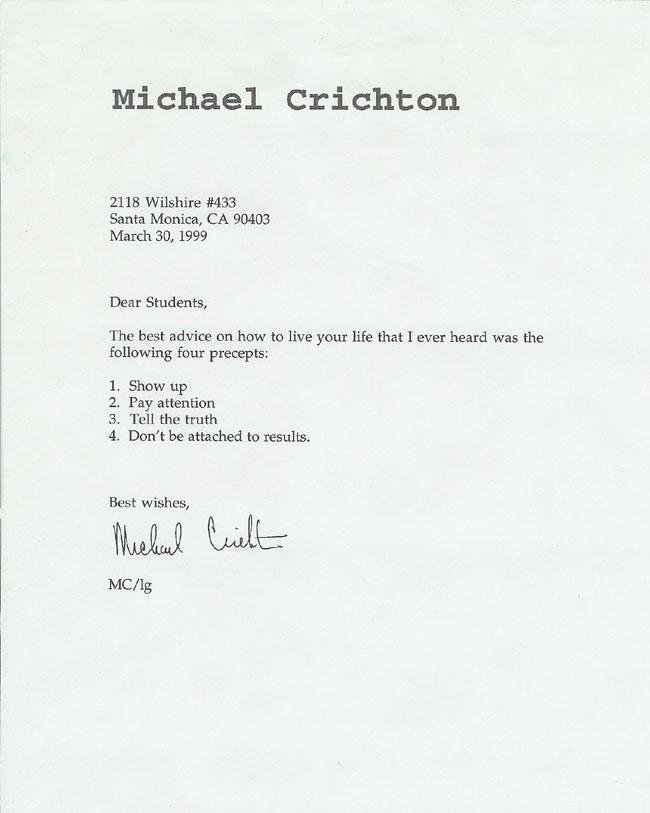 Michael Crichton letter