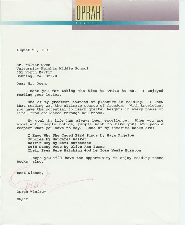 Oprah's letter