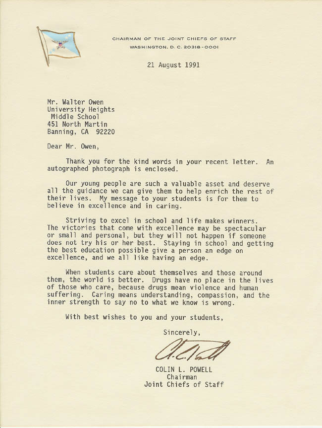 Colin Powell's letter
