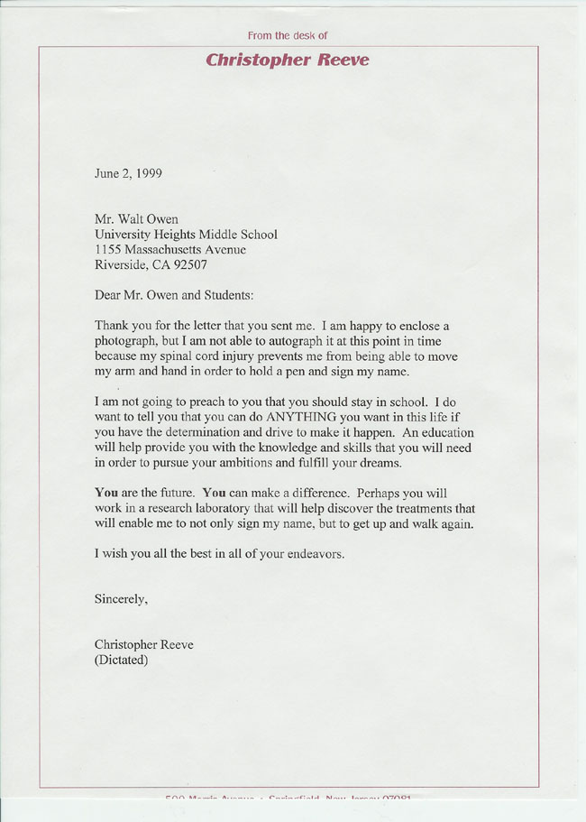 Christopher Reeve's letter