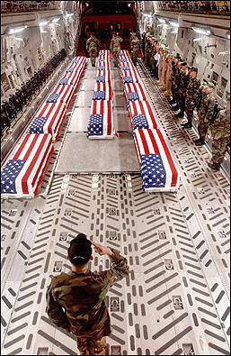 flag-draped coffins