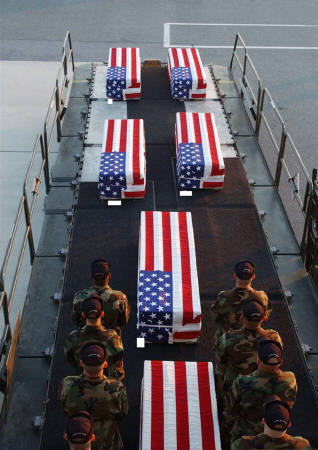 More flag-draped coffins